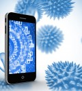 Binary code on smartphone screen against blue virus cells