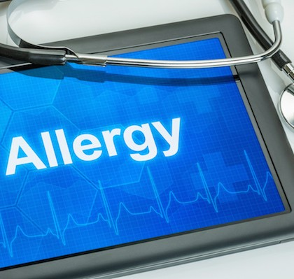 Tablet with the diagnosis allergy on the display
