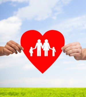 health, love, adoption and relationships concept - closeup of multiracial couple hands with big red heart with family and kids over blue sky with grass background