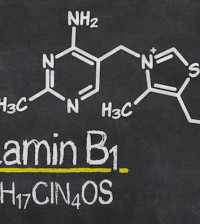 Blackboard with the chemical formula of Vitamin B1