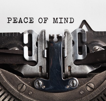 peace of mind concept.typewriter with paper sheet. Space for your text